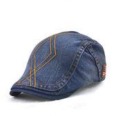 新款成人縫線牛仔貝雷帽 男士女士休閒國旗歐美款鴨舌帽子