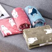 【BlueCat】繽紛雪花北極熊午睡毯 小毛毯 懶人毯 披肩 蓋毯 寵物毯