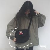 韓國 古著感軟妹斜挎包少女心童趣小熊包學生帆布包單肩包
