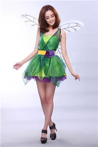 花仙子女王派對迪士尼演出森林綠色小精靈萬聖節服裝聖誕裝公主裝