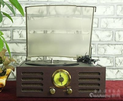 仿古唱片留聲機  LP黑膠唱機   送唱片和唱針【藍星居家】