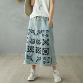 刺繡牛仔裙 純棉流蘇半身裙 寬鬆印花A字裙-夢想家-0216
