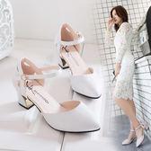 高跟涼鞋新款尖頭粗跟中高跟包頭女春夏百搭韓版一字扣帶中空單鞋 mc8196『東京衣社』