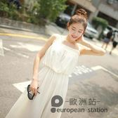 細肩帶洋裝/春夏白色無袖雪紡連身裙女新款抹胸單件打底裙吊帶裙仙女長裙「歐洲站」