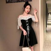 海外直發不退換小禮服短裙洋裝9962#夏裝大碼女裝胖mm露肩網紗顯瘦洋氣減齡連衣裙(M3F 特1-A)