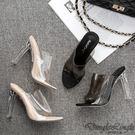 女神足尖透明水晶高跟涼拖鞋(二色大尺碼35~42)