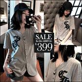 克妹Ke-Mei【ZT46528】外貿!歐美龐克皮革字母深V開襟棒球外套T恤洋裝