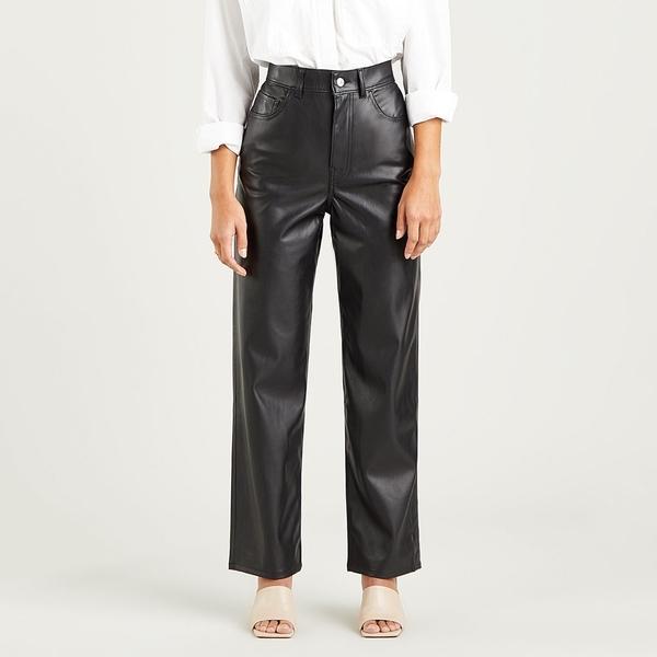 Levis 女款 Ribcage 復古超高腰直筒仿皮褲 / 及踝款 / 摩登黑