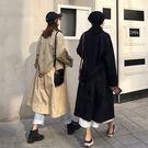 超長版 風衣 外套 西裝 大衣 雙排釦 腰帶 長版 寬鬆 顯瘦 帥氣 卡其 黑 韓國 歐美 NXS