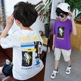 男童T恤2019新款兒童韓版短袖汗衫中大童印花純棉上衣潮童男孩夏 藍嵐