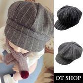 OT SHOP 兒童款帽子 八角帽 條紋設計 小孩穿搭配件 親子出遊穿搭 兒童服飾 現貨2色 C5001