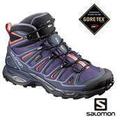 Salomon 女 X ULTRA 2 GTX 中筒登山鞋-茄灰/深藍/珊瑚粉 【GO WILD】