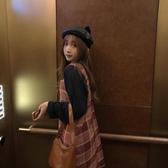 韓版格子背帶裙連身裙女秋季新款復古港風小個子裙子