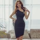 OL洋裝 2021夏季韓版名媛輕熟風OL性感收腰無袖顯瘦包臀不規則連身裙禮服