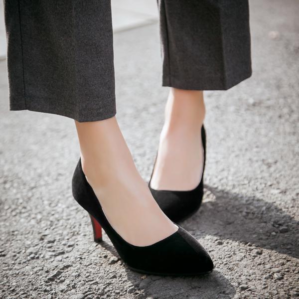 Dingle丁果大尺碼ღ韓版時尚尖頭絨面高跟鞋2色