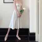 吊帶洋裝 涼感法式白色連衣裙女夏季新款韓版中長款裙子氣質收腰顯瘦吊帶裙-一木一家