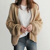 (全館一件免運)DE SHOP~(GU-8725)V領泡泡袖長袖針織開衫外套罩衫外套