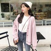 秋冬女裝韓版百搭學院風寬鬆純色長袖毛衣休閒針織衫開衫上衣外套