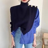 韓國chic小眾設計高領別致側邊紐扣假兩件襯衫拼接條紋泡泡袖毛衣 韓國時尚週