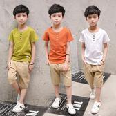 夏季新品兒童短袖純棉T恤兩件套裝QQ276『優童屋』