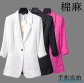 亞麻西裝外套 亞麻網紅小西裝2021歐貨上衣春夏薄款棉麻短袖西服白色洋氣外套女 快速出貨
