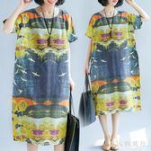 大碼印花洋裝夏季新款民族風復古長袍胖MM文藝棉麻短袖寬鬆短袖連衣裙  AB5402 【男人與流行】