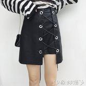 交叉圓環繫帶個性不規則PU小皮裙新款修身顯瘦高腰包臀裙  全館免運