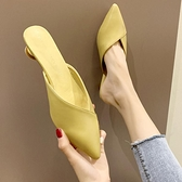 2020夏季新款網紅包頭拖鞋女外穿韓版百搭半拖酒杯跟尖頭涼拖鞋女 萬聖節狂歡價
