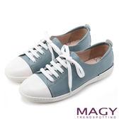MAGY 樂活休閒 質感素面牛皮綁帶休閒鞋-藍色