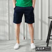 【JEEP】彈性雙口袋休閒短褲-深藍