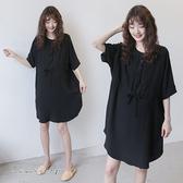 孕婦裝 MIMI別走【P521041】涼感韓國雪紡 寬版抽繩連身裙 開扣哺乳衣 孕婦裙
