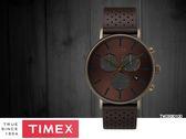 【時間道】TIMEX天美時 經典簡約三眼計時腕錶– 咖金網紋面古銅殼黑皮(TW2R80100)免運費