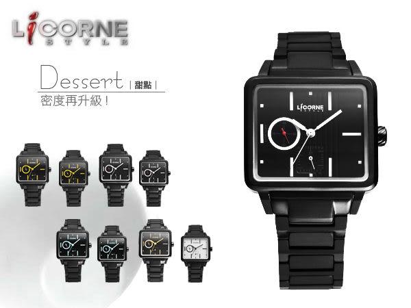 力抗LICORNE甜點手錶 多功能藍寶石型男黑金腕錶 原廠公司貨 柒彩年代【NE543】單支