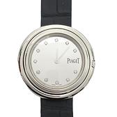 PIAGET 伯爵 POSSESSION 鑲12顆鑽銀色精鋼深藍色鱷魚皮革石英腕錶 G0A43090 P11547