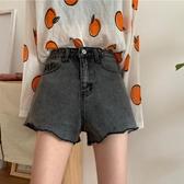 牛仔短褲 高腰毛邊牛仔短褲女2020年夏季新款休閒百搭顯瘦深色短款闊腳褲潮 交換禮物