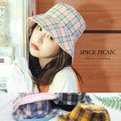 帽子 Space Picnic|正反兩戴格紋素面漁夫帽(預購)【C19043005】