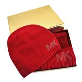 美國正品  MICHAEL KORS 鉚釘LOGO圍巾/毛線帽禮盒組-紅色 【現貨】