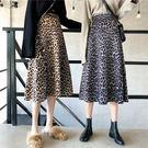豹紋 半身裙 A字裙 傘裙 長裙 顯瘦 高腰 百搭 NXS