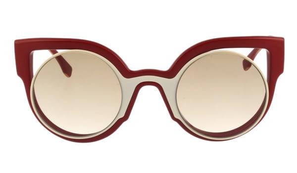 FENDI-時尚造型 太陽眼鏡(紅+白色)