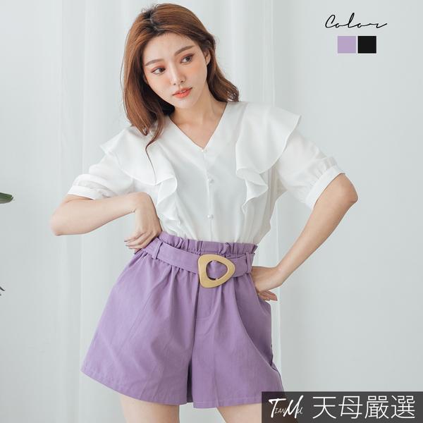 【天母嚴選】時髦顯瘦附腰帶花苞腰褲裙(共二色)