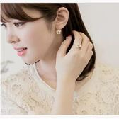 韓國 淑女風 小金球五瓣花後掛式耳環 明星耳釘【B1133】