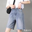 五分褲牛仔褲女直筒寬鬆港味夏季2020高腰大碼不規則韓版新款中褲潮 LR26204『毛菇小象』