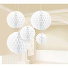 蜂巢球吊飾5入-天使白