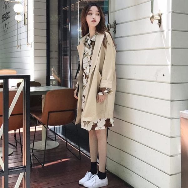 港味復古春新款女學生上衣開衫寬鬆中長款純色長袖風衣外套潮 店家有好貨