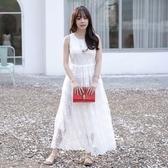 洋裝-無袖白色蕾絲繡花圓領女連身裙73nj51【巴黎精品】