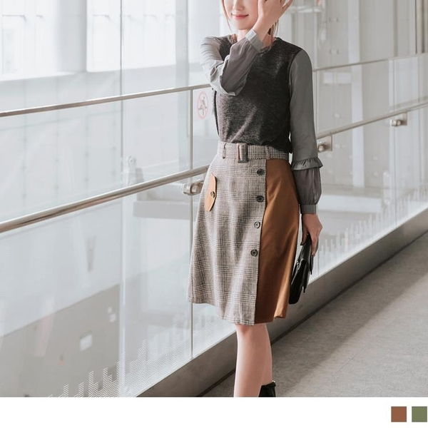 《CA1719》格紋拼接排釦假口袋設計中長裙(附腰帶) OrangeBear