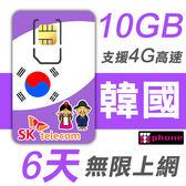 【TPHONE上網專家】韓國 高速上網卡 6天無限上網 (前面10GB 支援4G高速)