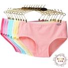 8條裝女士夏季內褲女大尺碼面料蕾絲邊糖果色學生三角褲頭