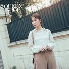 Queen Shop【01023631】V領簡約杏色格紋排釦襯衫*現+預*