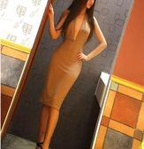 夜店夜場性感連身裙掛脖露修身包臀中裙洋裝